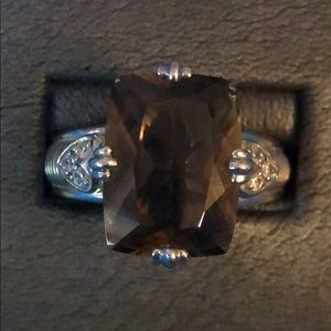 Judith Ripka Sterling Silver, Smokey Quartz Ring
